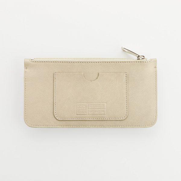 pezsgő színű bőr pénztárca hátoldala paypass kártya tartó zsebbel