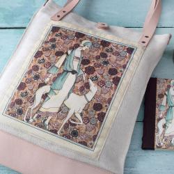 vintage mintás natúr vászon táska natúr pántokkal