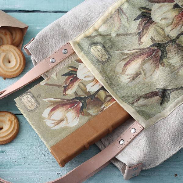 liliom mintás natúr zsákvászon táska hozzá illő notesszel