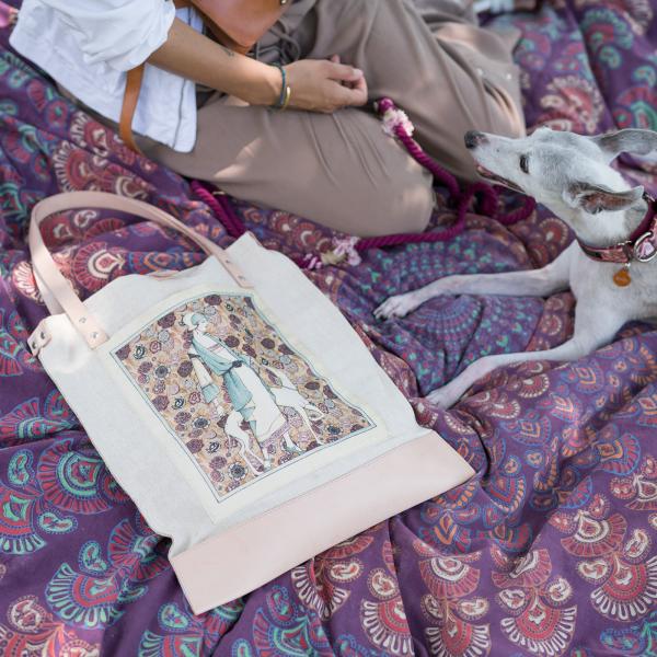 hölgy kutyával printelt vászon táska