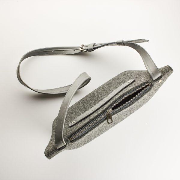 gyapjúfilc válltáska fém cipzárral