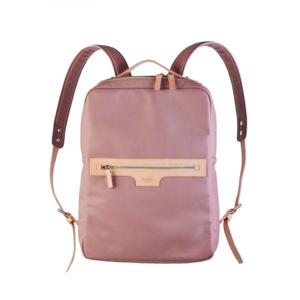 mályva színű hátizsák eleje fém cipzáras zsebbel natúr kiegészítőkkel
