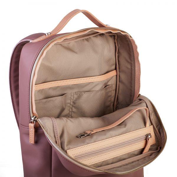 mályva színű hátizsák homok színű béléssel
