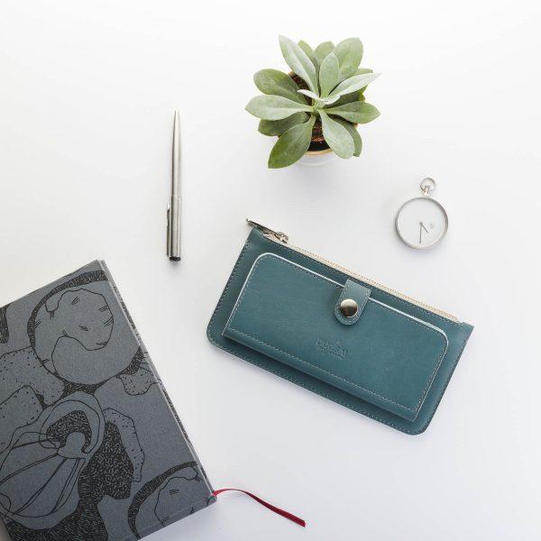 palackzöld bőr pénztárca vászon borítású notesszel